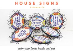 Let your guests know how you really feel with our Talavera house signs. These iconic signs are hand painted onto ceramic plaques mounted in a whimsical wrought iron frame. Mexican Home Decor, Christmas Dinnerware, Talavera Pottery, Embroidered Pillowcases, Moroccan Pattern, Paint Set, Pillow Forms, Dot And Bo, Wire Wrapped Pendant