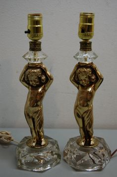 Vintage Cherub Lamps pair by JunquePro on Etsy
