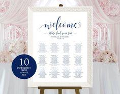 Navy Blue Wedding seating chart by WeddingPrintablesCo on @creativemarket