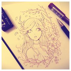 + Deer Girl [Lineart] + by SaraFabrizi.deviantart.com on @deviantART