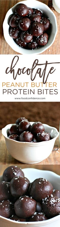 These Chocolate Peanut Butter Protein Bites have a hidden healthy ingredient that makes them chock full of protein! They taste like a peanut butter cup, but are healthy, low sugar, and full of protein and fiber. Plus they're portable and easy to make! Perfect for an on-the-go energy boost or back to school snack! // healthy snack recipe // protein energy ball // chocolate energy ball recipe //