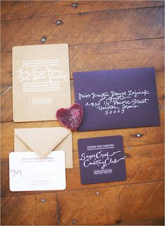 purple wedding invites by Atheneum Creative