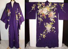 Antique Japanese Purple Silk Padded Satin Stitch Embroidery Chrysanthemum Kimono   Front view.