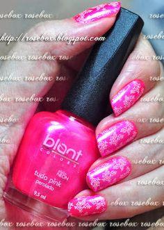 esmalte Blant tudo pink + carimbo