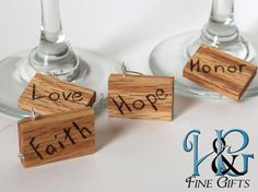 Wine glass charms set of 8 in handcrafted wood red oak wine