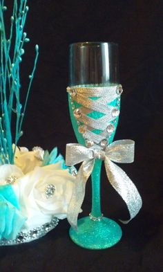 Aqua and Silver or Royal Purple and Silver corset flute for quinceanera or wedding toast