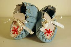 Vintage Handmade Butter Leather Baby Blue Moccassins
