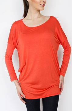 Coral Knit Long Sleeve Top - #WholesaleTops, #Casual #DayTops, #Solid, #Dressy #Chic #Trendy, #Spring #SpringWear, #CloseoutTops