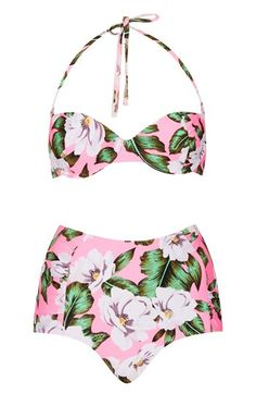 retro floral high waist bikini