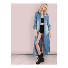 SheIn(sheinside) Distressed Faded Button Down Lightweight Denim Coat... (€35) ❤ liked on Polyvore featuring outerwear, coats, blue, long sleeve coat, long denim coat, button down coat, light weight coat and pink coat