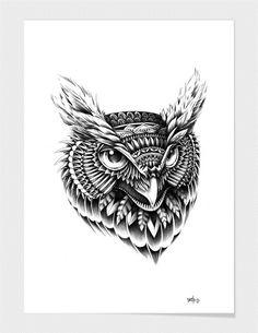 "Curioos.com | ""Ornate Owl Head"" by BioWorkZ (Ben Kwok) - Gallery Quality Art Print"