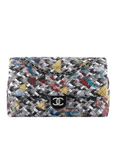 Large classic flapbag, tweed & strass-black, white, blue & yellow - CHANEL