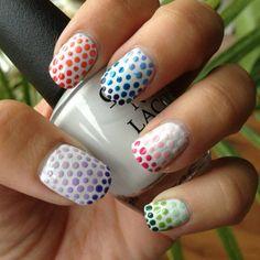 awsome 3d gradient dot nails on a white base   #Nails #Nailart - bellashoot.com