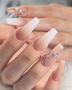 In seek out some nail designs and ideas for your nails? Here's our listing of must-try coffin acrylic nails for modern women. Bling Acrylic Nails, Acrylic Nails Coffin Short, Best Acrylic Nails, Rhinestone Nails, Bling Nails, Gel Nails, Coffin Nails, Acrylic Nails With Design, Wedding Acrylic Nails