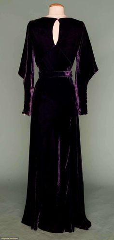 ROYAL PURPLE VELVET EVENING GOWN, 1930s. i like the eyelet, it's subtle, classic. Velvet is coming back into season so still's like this should definitely be coming back out