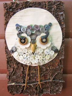 Awesome! Owl Wall Hanging on Bark and Birch Made of Buttons by niknakia, $25.00