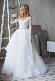 64ac976cfb53 Tulle long sleeve dress LORELEI bridal separates top and
