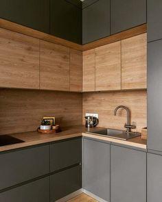 New Kitchen Interior, Small Apartment Interior, Kitchen Room Design, Apartment Kitchen, Home Decor Kitchen, Home Kitchens, Cool Room Designs, Kitchen Dining Living, Diy Kitchen Storage