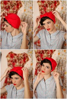 Easy step by step guide for a perfectly tied 1950s headscarf! :: Pin Up Hair :: 1950s headscarf tutorial
