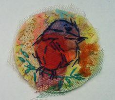 Broche - katoen, tule en borduurwerk Ø 6,5 cm