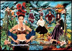 Ad campaign for the Tribute to Frida Kahlo collection, Women's prêt-à-porter spring/summer illustration by Fred Langlais and art direction by Jean Paul Gaultier. Part of the exhibition Jean Paul Gaultier: Be My guest. Diego Rivera, Jean Paul Gaultier, Rotterdam, Illustration Arte, Art Illustrations, Vida Design, Space Gallery, London Jeans, London Art