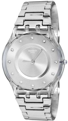 Swatch Skin Classic Silver Drawer Quartz Women's Watch - CityWatches IN Swatch, Authentic Watches, After Life, Watch Sale, Krystal, Stainless Steel Bracelet, Plastic Case, Michael Kors Watch, Rolex Watches