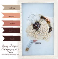 By Emily Heizer Winter color palate of bark, pinecones, creams and coppers. Non perishable, sustainable bouquet. Eco friendly.  https://www.facebook.com/photo.php?fbid=10150860559783119=a.399717273118.174875.362017713118=1