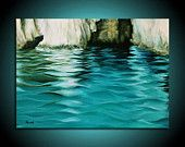 """Original landscape painting - blue, turquoise, white seascape painting - Waving seas - Ready to Hang - 19,7"""" x 27,6"""""""