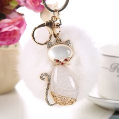 Rabbit Fur Keychain Rhinestone Cat Key Rings for Women Bag Pendant