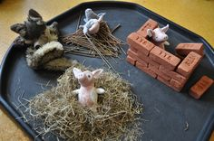 to extend an EYFS activity to create further learning opportunities.Read more about how to extend the story The Three Little Pigs Eyfs Activities, Nursery Activities, Time Activities, Traditional Tales, Traditional Stories, Pig Crafts, Crafts For Kids, Three Little Pigs Story, Three Little Pigs Houses