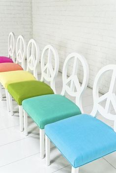 Seating - Peace Dining Chair Sorbet Collection I roomservicestore - peace dining chairs, peace sign back dining chairs, dining chairs with p...