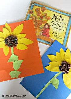 Do your kids ever learn about artists from history?  What's your favorite way to teach them about art history?  Summer Sunflower Kids Craft - #kids #craft #kidscraft at B-InspiredMama.com