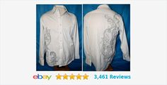 7 Diamonds Mens Long Sleeve Button Down Clubbing Shirt LARGE white & gray #7diamond #clubwear