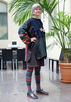 """""""I bought my jacket over 10 years ago in Bangkok. I like to wear etno style clothes and shop often at second hand markets. I think socks are an important part of the outfit. These socks are from Stockmann. My favourite outfit is an Afghan dancing dress that I bought at a museum in Amsterdam in 1997."""""""