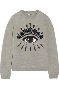 KENZO Embellished cotton-fleece sweatshirt
