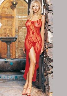 $25.50 2Pc Spaghetti Strapped Butterfly Lace Long Dress Gown With High Slit Ad G-String