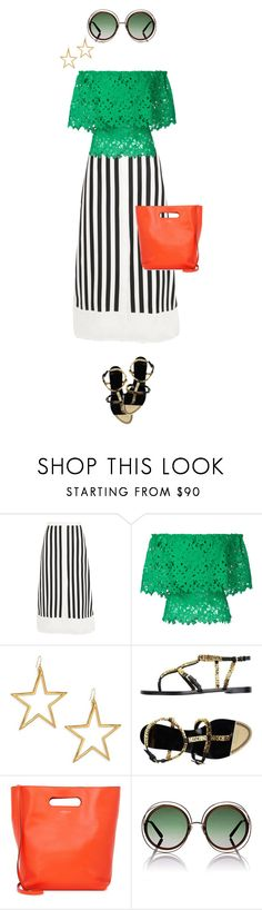 """""""green & orange lovage"""" by bananya ❤ liked on Polyvore featuring La Ligne, Bambah, Kenneth Jay Lane, Moschino, J&M Davidson and Chloé"""