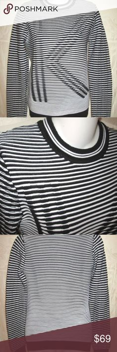 KENZO Black & White K Optical Illusion Sweater S Size Small. Retail $300, excellent condition. Dense 70% cotton 30% poly knit with ribbed crewneck, cuffs and hemband. Snug fit (see model pics in green). Made in Italy. Bust 33, Shoulders 14, Sleeves 26, Length 26. Kenzo Sweaters