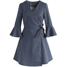 Chicwish City Muse Wrapped Shirt Dress in Stripes ($53) ❤ liked on Polyvore featuring dresses, blue, blue striped dress, striped t-shirt dresses, striped dresses, wrap shirt dress and cotton shirt dress