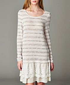 Look what I found on #zulily! Ivory Stripe Lace-Hem Dress #zulilyfinds