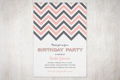 Chevron Birthday Party Invitation