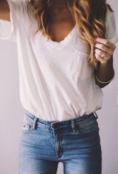 Simple white tee and jeans classic