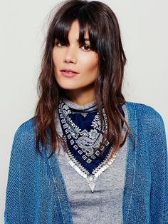 Moonrise Metal Fringe Bandana | Delicately printed fabric bandana with statement metal fringe and bold pendant. So many ways to wear it, try wrapping it around your neck or head!  *By Free People