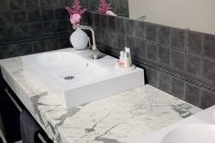 Maximize comfort in your guest bathroom with our extensive tile and stone selection. Visit our showrooms to find the perfect tile for your home remodel. Grey Bathroom Tiles, Grey Bathrooms, Guest Bath, Home Remodeling, Sink, Home Decor, Sink Tops, Gray Bathrooms, Home Renovations
