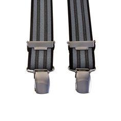 Smalle bretels met verticale zwarte en grijze strepen.