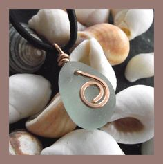 Natural Sea Glass and Bronze Pendant