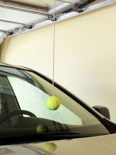 "Hanging tennis ball // ""Easy Garage Organization Ideas"""