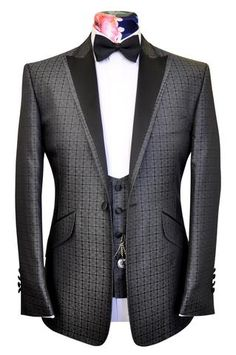 The Ashmore Classic Dinner Jacket in Silver over Black Geometric Pattern - William Hunt Savile Row - 1