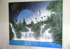 "Spray paint art ""Nature""  number K081  size  F15 652mm×530mm canvas  painted by artist TOMOYA"