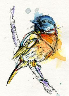 I just put up this new piece! Little Stonechat on Etsy, $50.00 - by Abby Diamond